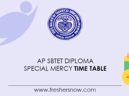 AP SBTET Diploma Special Mercy Time Table
