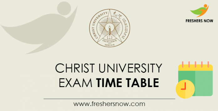 Christ University Exam Time Table