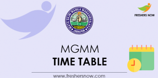 MGMM Time Table