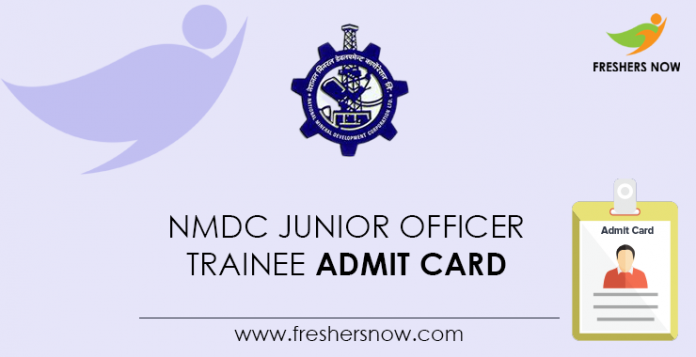 NMDC-Admission Card for Junior Officers Trainees