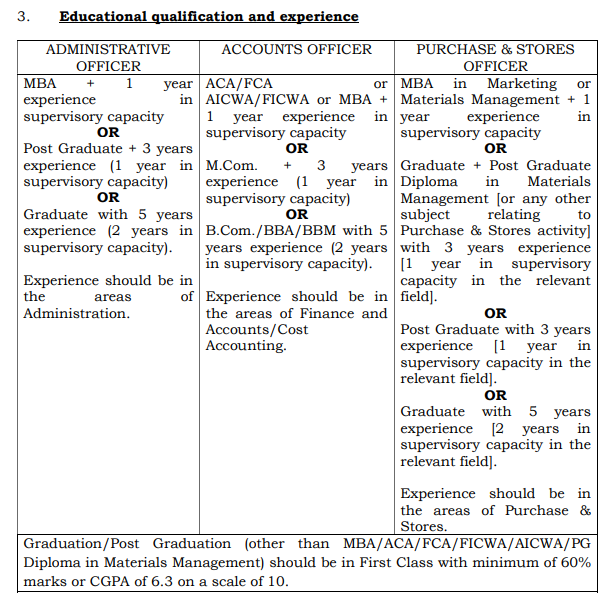 ISRO ICRB Educational Qualifications and Experience