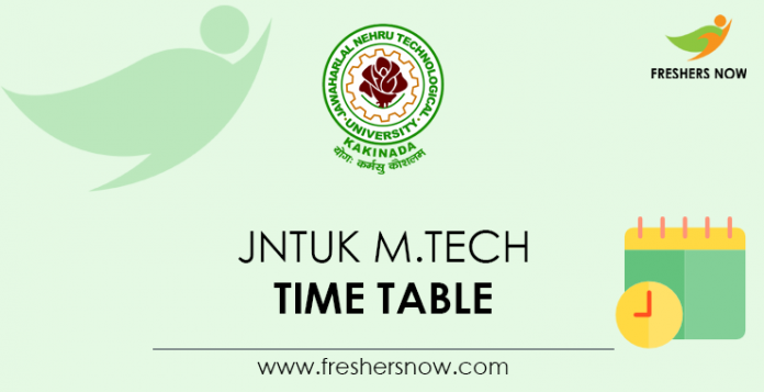 JNTUK M.Tech Time Table