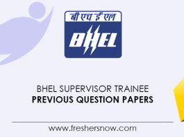 BHEL Supervisor Trainee Previous Question Papers