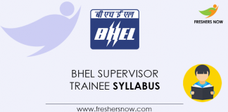 BHEL Supervisor Trainee Syllabus