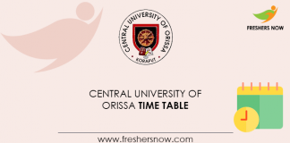 Central University of Orissa Time Table