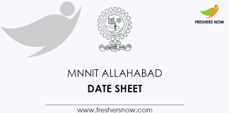 MNNIT Allahabad Date Sheet