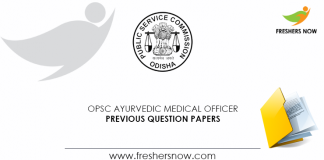 OPSC Ayurvedic Medical Officer Previous Question Papers