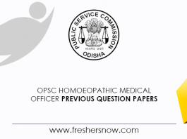 OPSC Homoeopathic Medical Officer Previous Question Papers
