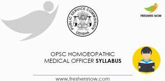 OPSC Homoeopathic Medical Officer Syllabus
