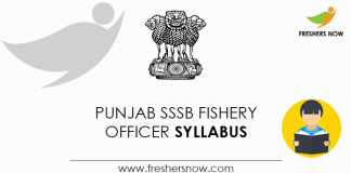 Punjab SSSB Fishery Officer Syllabus