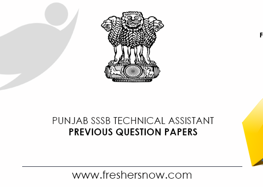 Punjab SSSB Technical Assistant Previous Question Papers