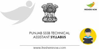 Punjab SSSB Technical Assistant Syllabus