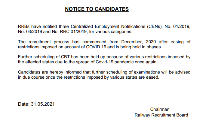 RRB Group D Exam Notice