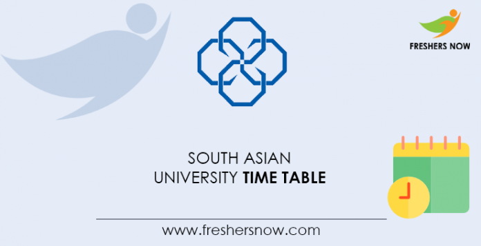 South Asian University Time Table