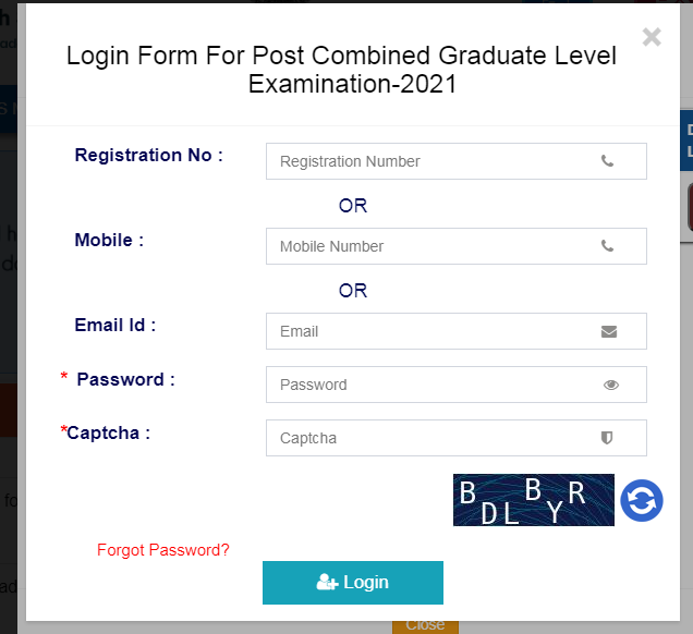Admit Card Page