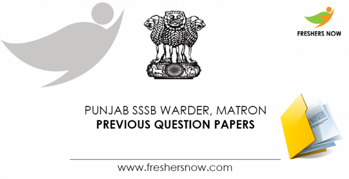 Punjab SSSB Warder, Matron Previous Question Papers
