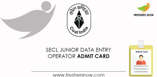 SECL-Junior-Data-Entry-Operator-Admit-Card