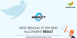 West Bengal ITI 5th Seat Allotment Result